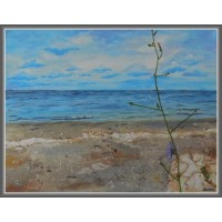 """Peisaj marin """"Calm si liniste; Marea neatinsă ..."""" Tablou peisaj cu marea, unicat,, pictat manual, pe pânză"""