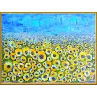"""""""Camp cu floarea soarelui"""" - peisaj pictat manual"""