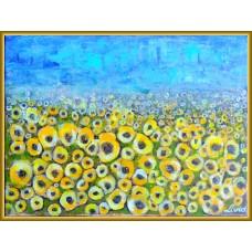 """""""Camp cu floarea soarelui"""" - peisaj pictat"""