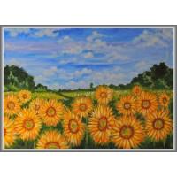 Camp cu floarea-soarelui21-0673 - Tablou unicat, pictat manual in original pe panza - Peisaje