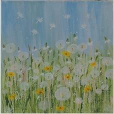 Păpădii. Peisaj cu flori. Tablou pictat pe pânză