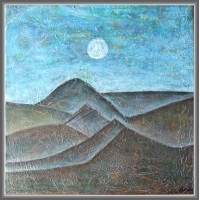 peisaj montan, seara, pictat manual pe panza