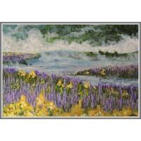 Ceata pe lac21-0937 - Tablou unicat, pictat manual in original pe panza - Peisaje