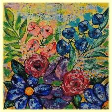 Cu drag, de pe taramul culorilor20-0455 - Tablou unicat, pictat manual in original pe panza - Flori