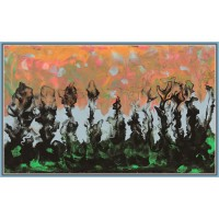 Tablou pictat cu culori acrilice si medium de separare a culorilor pe panza intinsa pe cadru