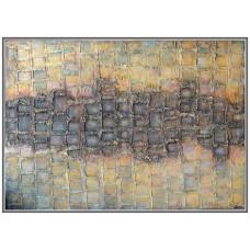 Tablou abstract structurat cu pasta de structura, si cafea macinata si pictat cu culori acrilice