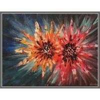 Dalii.  Tablou cu flori, pictat cu culori acrilice (cu pensula si cu spaclul)
