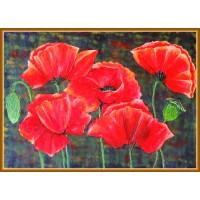Despre maci…20-0319 - Tablou unicat, pictat manual in original pe panza - Flori