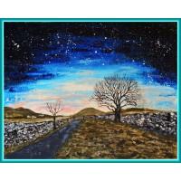 Drum de tara, luminat de stele 20-0362 - Tablou unicat, pictat manual in original pe panza - Peisaje