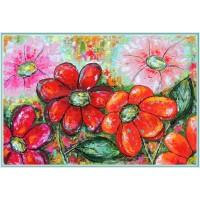 "Flori ""rumenite"" de soare - Tablou unicat, pictat manual pe panza -"
