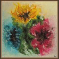 Flori ciufulite - tablou unicat pictat manual pe panza,