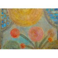 Flori ... Tablou unicat, abstract, pictat manual pe panza.