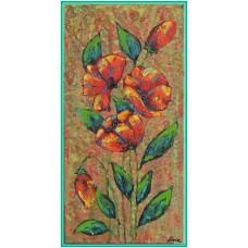 Flori vintage21-0572 - Tablou unicat, pictat manual in original pe panza - Flori