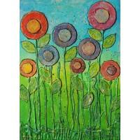 Floricele pentru fete….tablou cu flori, pictat manual pe panza, unicat