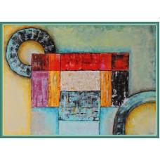 "Tablou abstract ""Forme si culori""  pictat pe panza"