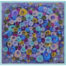 """Ganduri, ca niste flori"" - tablou abstract, cu flori"
