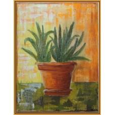 Ghiveciul cu plante din fereastra mea' - tablou cu flori