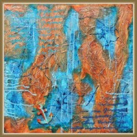 tablou abstract - harta unor tinuturi indepartate