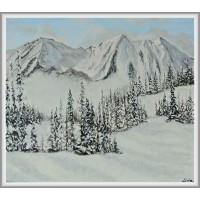 """peisaj """"Iarna e pe-aproape…"""" tablou pictat manual pe pânză"""