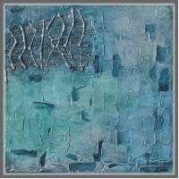 "Tablou abstract pictat pe panza ""In adancuri…"""