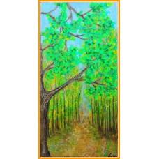 """In dumbrava minunata"" - tablou peisaj20-0083 - Tablou unicat, pictat manual in original pe panza - Flori"