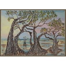 In vis, in Indonezia21-0602 - Tablou unicat, pictat manual in original pe panza - Peisaje