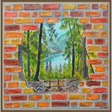 Intrezariri - peisaj - Tablou unicat, pictat manual pe panza - Peisaje