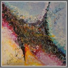"Tablou abstract, modern, unicat, pictat manual pe panză ""Joacă"""