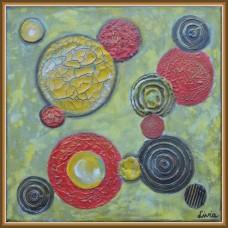 'Joc de linii curbe si culori' - tablou abstract