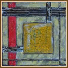 'Joc de linii drepte si culori' - tablou abstract