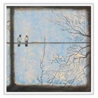 La fereastră tablou-compozitie_pictat-manual