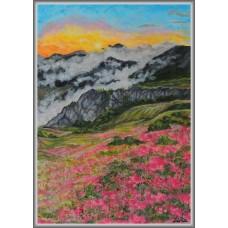 La munte, in roz21-0999 - Tablou unicat, pictat manual in original pe panza - Peisaje