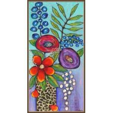 Tablou cu flori, pictate manual pe panza