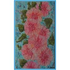 Nalbe roz21-0669 - Tablou unicat, pictat manual in original pe panza - Flori