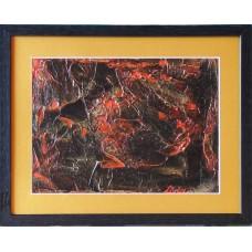 Negru si rosu21-0971 - Tablou unicat, pictat manual in original pe panza - Abstracte