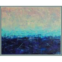 Noapte cu luna plina21-0531 - Tablou unicat, pictat manual in original pe panza - Abstracte