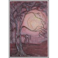 """Tablou pictat manual compozitie """"Noapte in padurea de argint"""""""