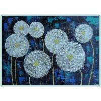 Noaptea printre papadii - Tablou unicat, pictat manual pe panza - Flori