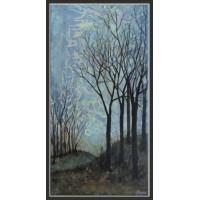 tablou peisaj de toamnă târzie pictat manual pe panza
