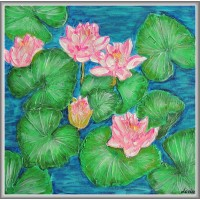 Tablou cu flori de nufar original, unicat, pictat manual