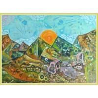 'O calatorie fantastica' - tablou abstract - Tablou unicat, pictat manual pe panza - Abstracte
