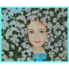"O ""floare"" intre flori21-0871 - Tablou unicat, pictat manual in original pe panza - Compozitii"