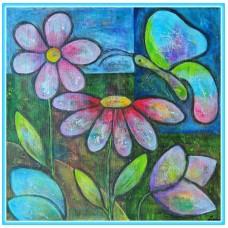 Parfum de primavara21-0478 - Tablou unicat, pictat manual in original pe panza - Flori
