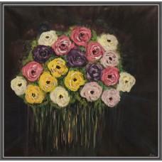 Tablou cu flori pictat manual pe panza