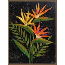 Pasarea Paradisului - tablou cu flori - Tablou unicat, pictat manual pe panza - Flori
