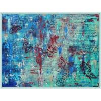 Tablou abstract, pictat manual cu cuțitul de pictură și cu pensula