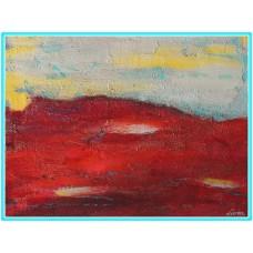 Planeta rosie21-0952 - Tablou unicat, pictat manual in original pe panza - Abstracte