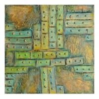 Porti ferecate.  tablou abstract, unicat, realizat manual, pictat in culori acrilice.