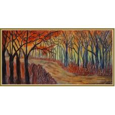 Prin padurea desfrunzitaT21-01091255 - Tablou unicat, pictat manual in original pe panza - Peisaje
