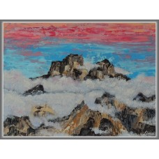 Printre nori21-1042 - Tablou unicat, pictat manual in original pe panza - Peisaje